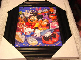 MICKEY MOUSE MINNIE DONALD 11X13 MDF FRAMED PICTURE POSTER ( BLACK FRAME ) - $30.48
