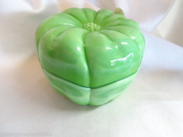 Fenton Art Glass Chameleon Green Flower Trinket Box MIB 4296XE - $39.00