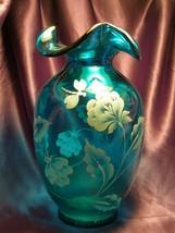 Bill Fenton Memorial Hand Painted Dragonflies & Flowers Aqua Glass  Vase... - $94.05