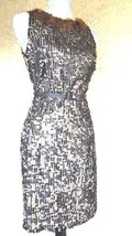 Nwt Stunning Ralph Lauren Sequin Black Gold Feather Dress Gown Us 2 - $147.51