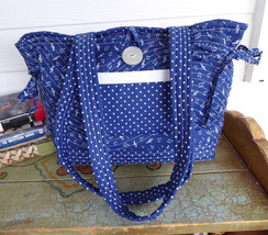 Purse Music Theme Tote Bag Handbag Navy Blue And White Quilted Music Needlework  - $38.00