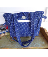 Purse Music Theme Tote Bag Handbag Navy Blue And White Quilted Music Nee... - $38.00