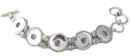 Silver Five Button 18-20mm Snap Charm Interchangeable Bracelet For Ginge... - $14.80