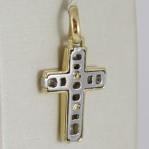 Cross Pendant Gold Yellow White 750 18k, Square, Satin, Made in Italy image 3