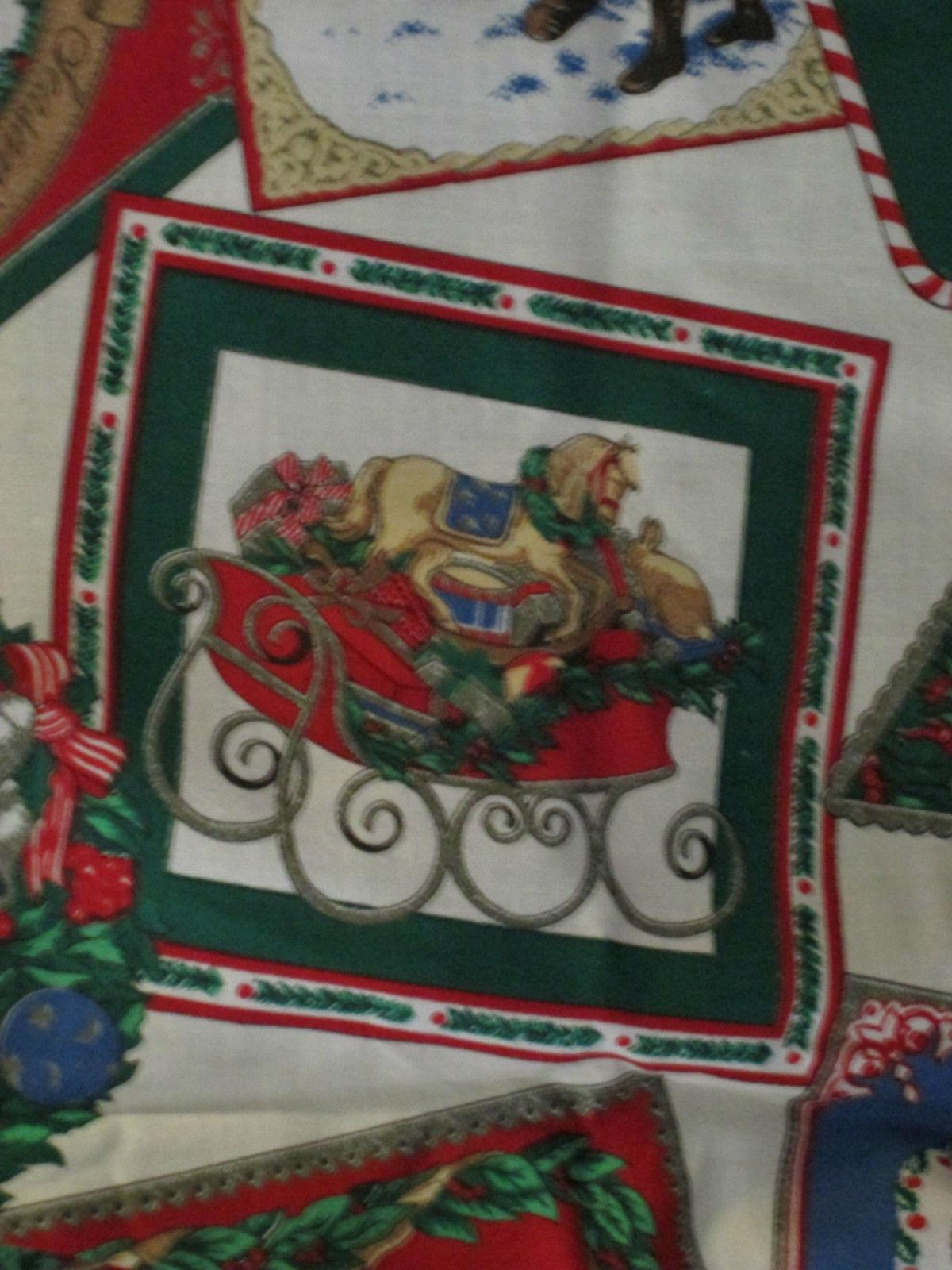Fabric CHRISTMAS Angel Bear Craft Sew Quilt Seasonal Tree Red Green Blue Art BTY