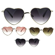 Womens Heart Shape Chain Arm Metal Rim 70s Sunglasses - $12.95