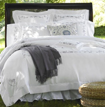 Sferra JANELLA Queen Duvet +2 Boudoir Shams White/Wisteria Embroidery Co... - $329.00