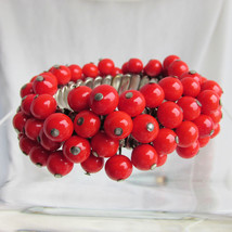 Vintage Cherry Red Glass Bead Expansion Bracelet SilverPlate Made in Jap... - $17.99