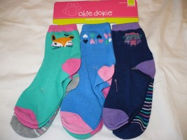 Girls Okie Dokie Low Cut Socks Size 4-6 Fox Owl 6 PAIRS  Shoe Size 8-11  - $11.87