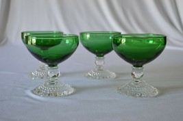 4 Anchor Hocking Forest Green Berwick Sherbet - $19.80