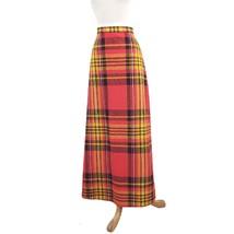 VTG 70s Red/Yellow Plaid Maxi Skirt: Sz 10 - $37.18