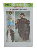 Crochet Instructions For Shawl Shoulder Cover Triangle 70s Style Simplicity 5660 - $9.79
