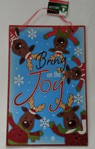 """""""Bring on the Joy"""" New Door Decor Glitter Reindeer And Snowflakes 9.5"""" X... - $7.00"""