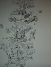 Auto Tree Ink Drawing - $24.50