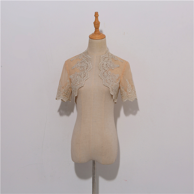Wedding lace cover up white champagne  6