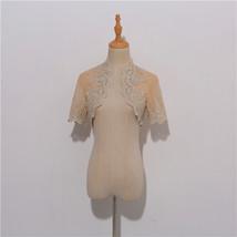 Champagne Gold Lace Wedding Shrugs Boleros Short Sleeve Wedding Guest Cover Ups image 1