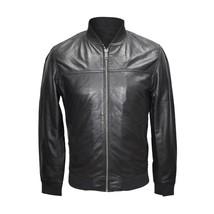 Men black Lambskin leather jacket, Classic Mens Fashion biker leather ja... - $159.99