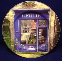 Sakura French Country Store Front Decorative Plate Emilie Purple Storefronts - $22.28
