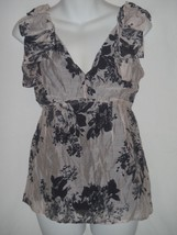 Anthropologie Weston Wear Top Pale Pink Black Design Bow Shoulders XS Bl... - $18.55