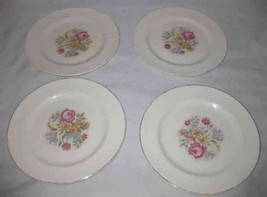 "Neat Vintage Set Of 4 HARKER POTTERY 9 1/2"" Plates Needlepoint Pattern - $38.52"