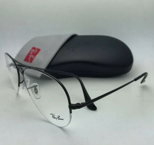 New RAY-BAN Eyeglasses RB 6589 2509 59-15 140 Aviator Semi Rimless Black Frame
