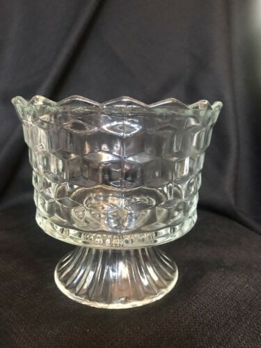 Vintage Indiana Glass Whitehall Cubist Clear Footed Compote Trifle Bowl 5 1/2""