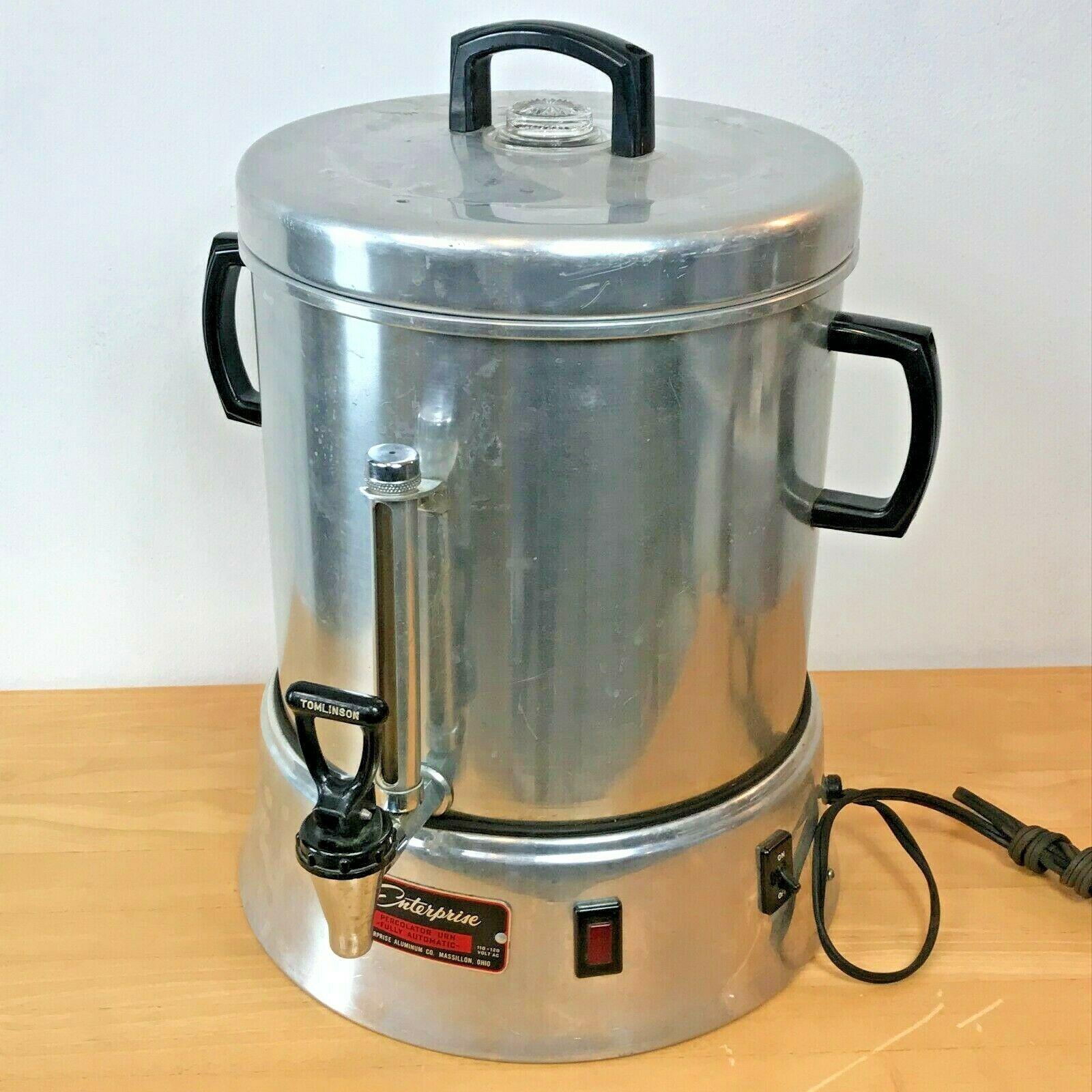 Vintage Enterprise Coffee Percolator 58 cup Urn Model AP48N WORKS Glass Knob LB