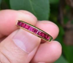 Tiffany & Co 18K Gold Square Cut Ruby Channel Set Eternity Wedding Band ... - $1,394.99