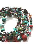 B81 Boho stack bracelet set lot of 6 stone glass wood beads - $17.77