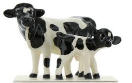 Hagen Renaker Miniature Holstein Cow and Calf Ceramic Figurine Set