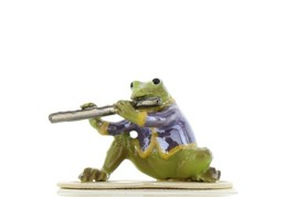 Hagen Renaker Miniature Frog Toadally Brass Band Flute Ceramic Figurine image 1