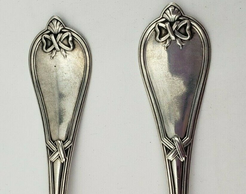 2 Vintage Coin Silver Oval Soup Spoons w/ Engraving of Ella (#17)