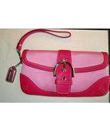 COACH 8x4 Wristlet PURSE 2tone Pink LEATHER & Fabric, Silver buckle flap... - $18.99