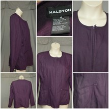 Halston purple Textured Zip Up Jacket with 2 pockets fully lined career ... - $8.89