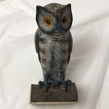 Vintage Hand Painted Wooden Owl Figurine - $19.79