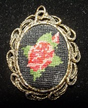 Vintage Gold Toned Rose Needlepoint & Mirror Necklace Pendant - $11.88