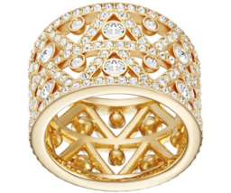 Swarovski Crystal DAZZLING Ring Gold Size 55/7/M Wide Band Statement Coc... - $98.01