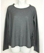 Elodie Womens Gray Long Sleeve Top Lace Inset Side Size Large Flowy Boho - $6.73