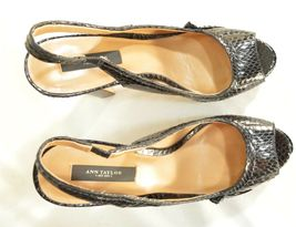 Ann Taylor shoes heels 9M platform black leather snakeskin high chic career image 4