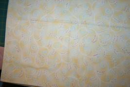 DENA DESIGNS FOR IN THE BEGINNING FABRICS -  SCROLL ON YELLOW  - $7.91