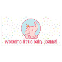Elephant and Balloons Baby Shower Banner Personalized Party Backdrop - $22.28+