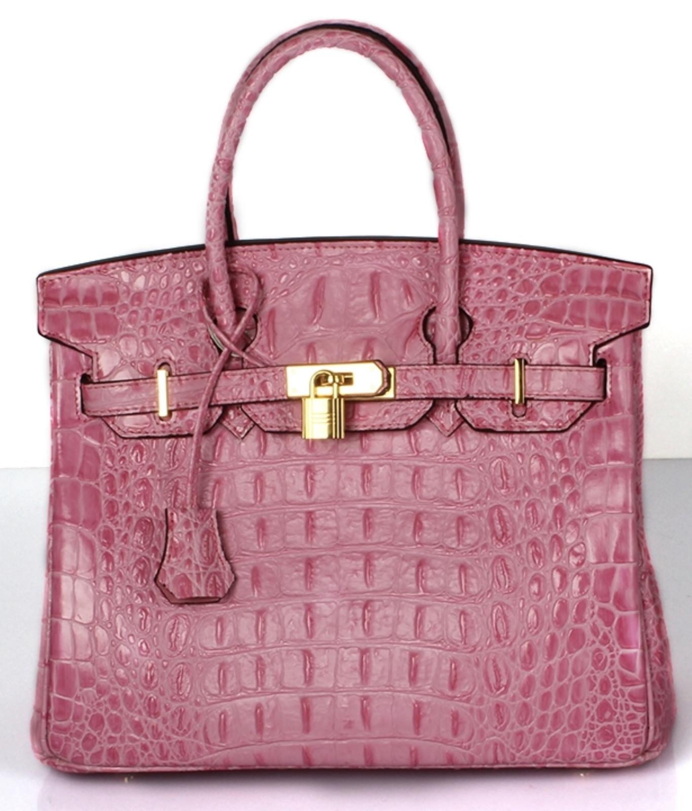 30 cm Crocodile Embossed Italian Leather Birkin Style Satchel Celebrity Handbag