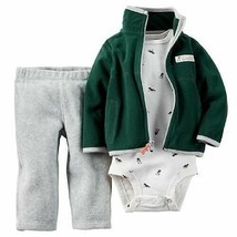 """Nwt Carters Baby Boys 3-PIECE GREEN/GRAY """"Little Scout"""" Set Size 3 Months - $15.83"""