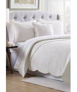 Pillow Sham Modern Southern Home Quilted Standard Pillow Sham Scallop Ti... - $19.79