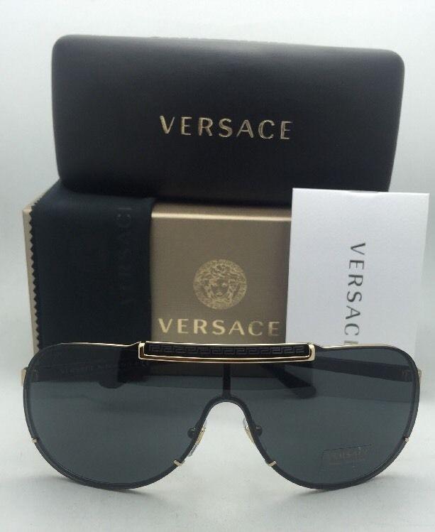 1d2cd9d97ee New VERSACE Sunglasses VE 2140 1002 87 Gold   Black Shield ...