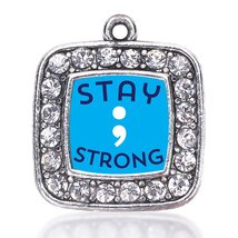Inspired Silver Stay Strong Semicolon Movement Loose Square Charm with C... - $9.30