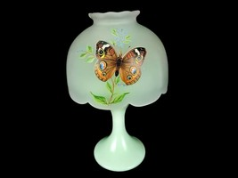 Westmoreland Glass Butterfly Fairy Lamp, Satin Glass Shade, Vintage Tea ... - $24.45