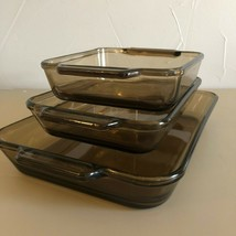 3 - Vintage Brown Baking Dishes Anchor Hocking Rectangle Casserole Dish ... - $48.51