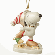 Lenox Peanuts Snoopy Ice Skating Figurine Ornament Christmas Woodstock D... - $50.00