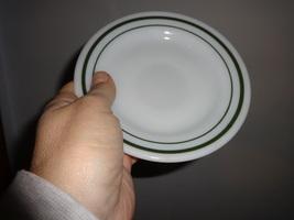 2 Pyrex China Saucers Green Band Border Restaurant Ware - $7.00